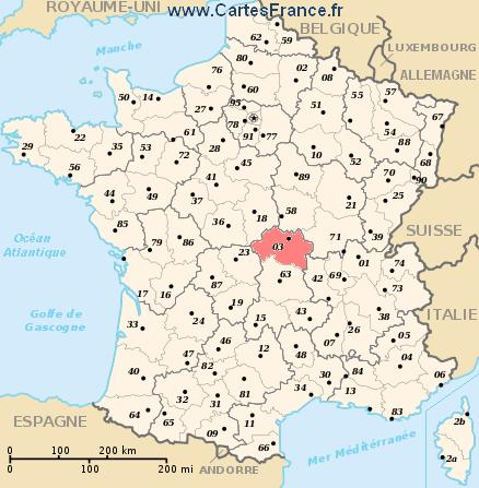 allier carte de frence - Image