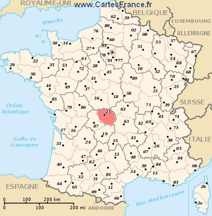 carte departement Creuse