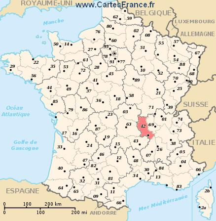 carte de france saint etienne