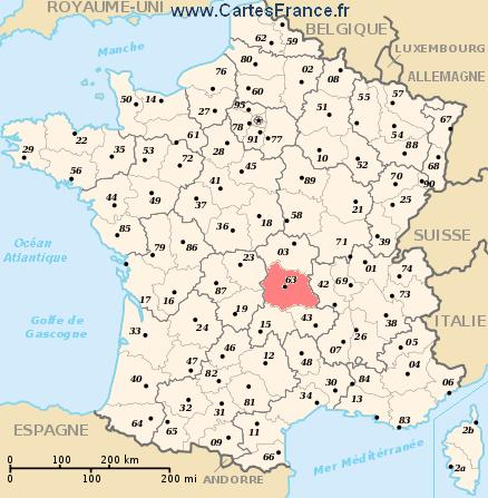 carte departement Puy-de-Dôme