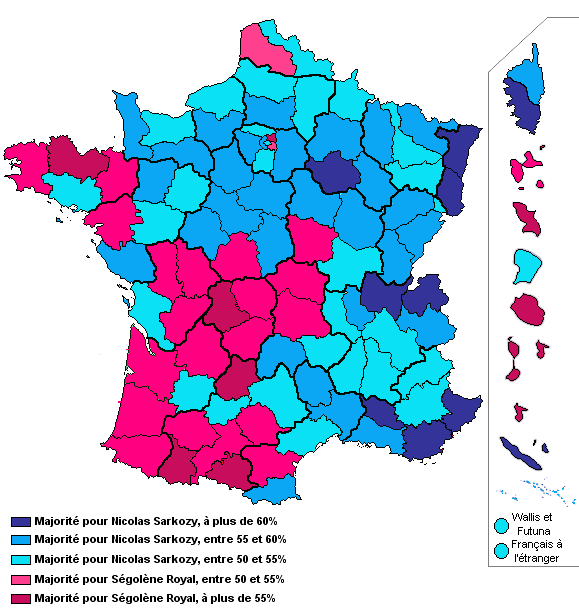 resultat election par departement carte Resultat election presidentielle 2007