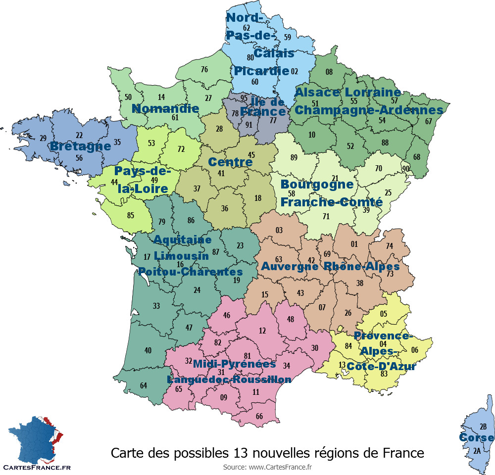 carte de france region et departement