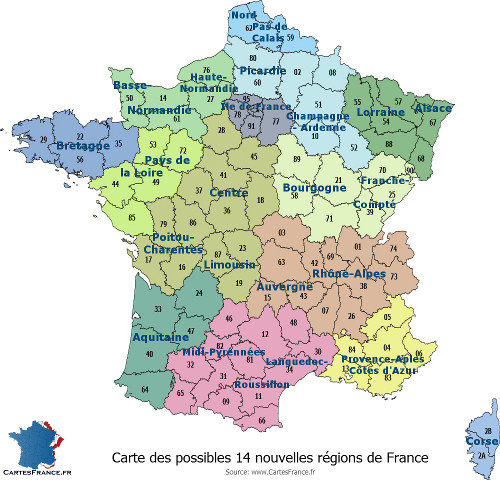 Carte de france region carte des r gions fran aises for Haute de france