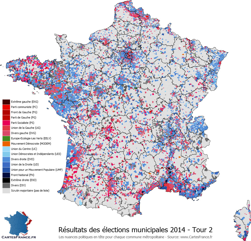 Carte des élections municipales 2014 second tour