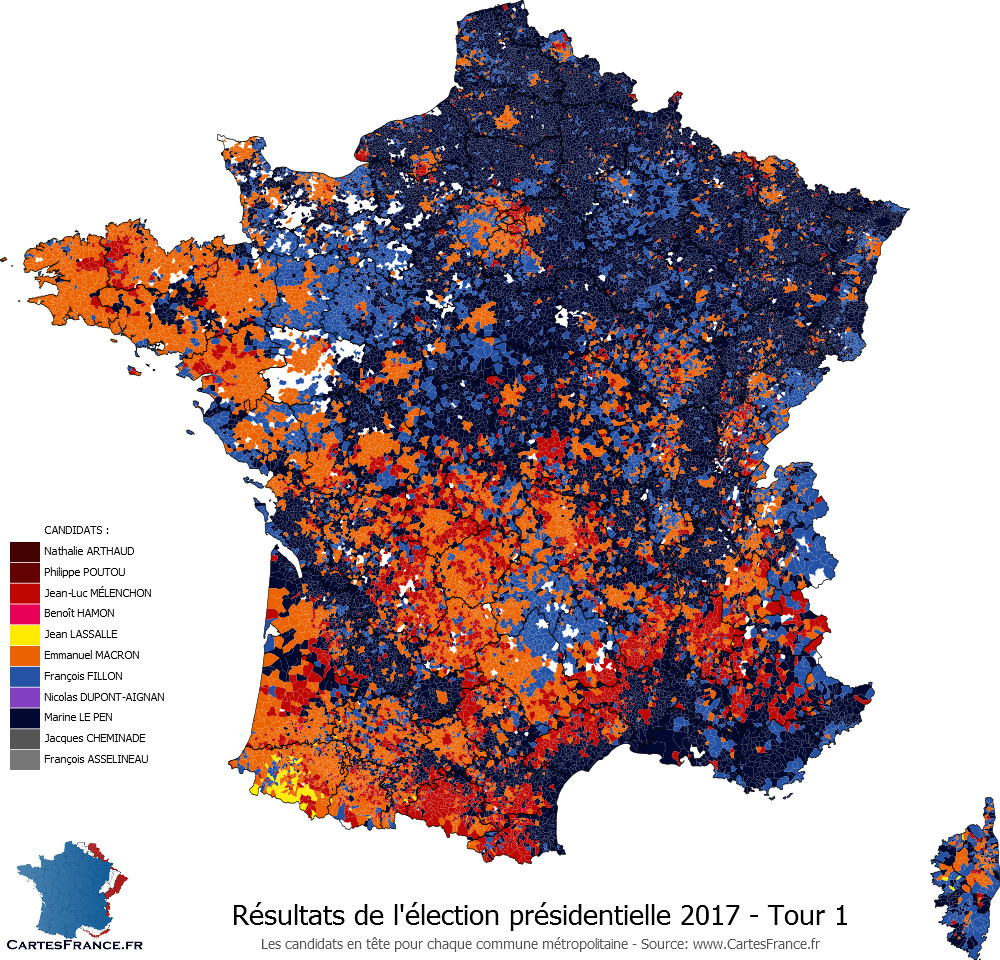 election presidentielle 2020 carte de france France's 2017 presidential election results mapped.