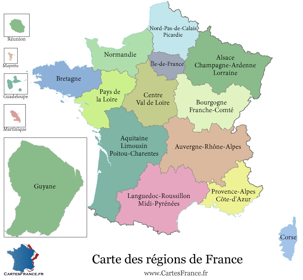 carte de france region carte des r gions fran aises. Black Bedroom Furniture Sets. Home Design Ideas
