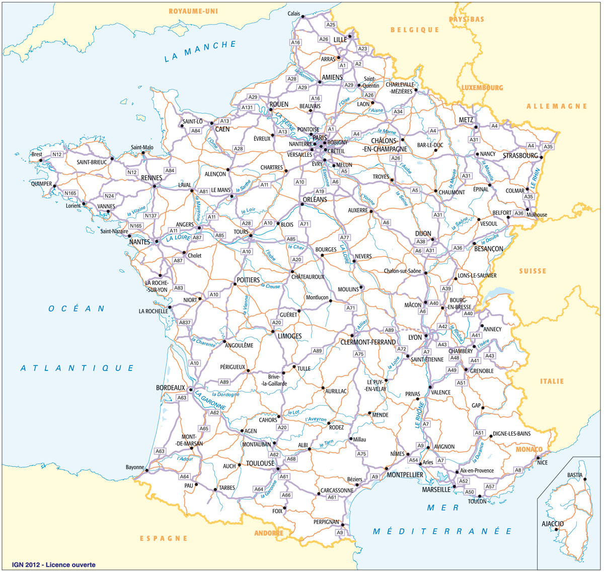 carte des routes de france - Photo