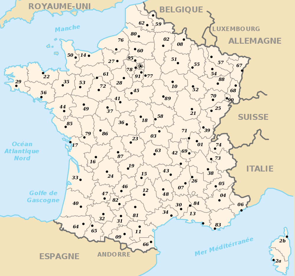 carte de france departement