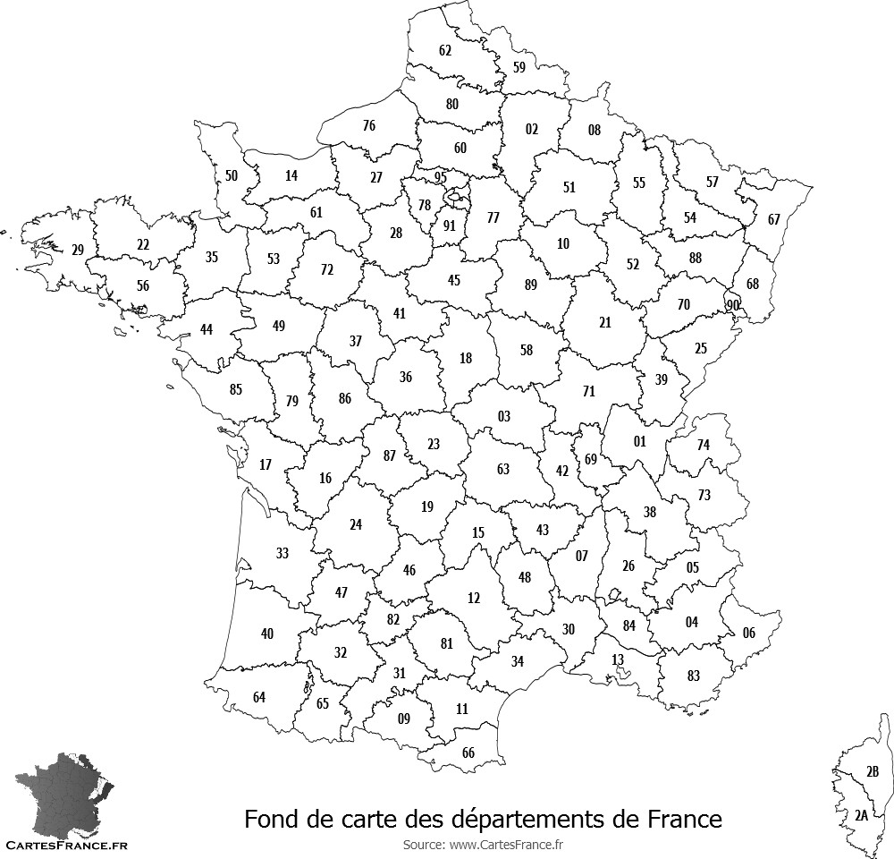 carte de france departement vierge