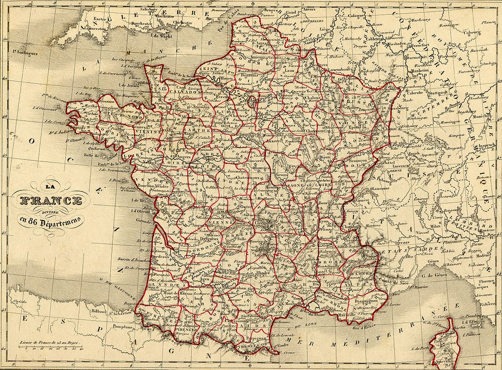 Carte des 86 départements de France en 1843