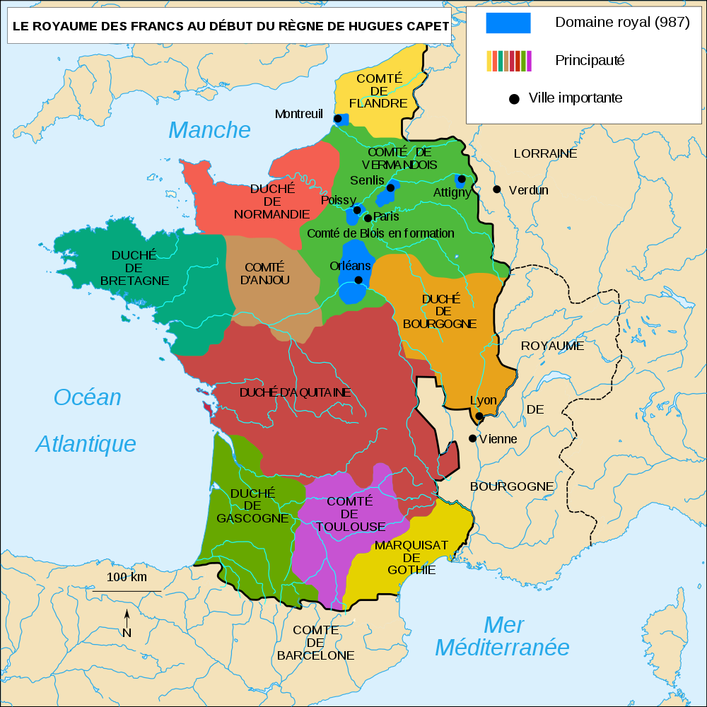 carte royaume capetiens france 987