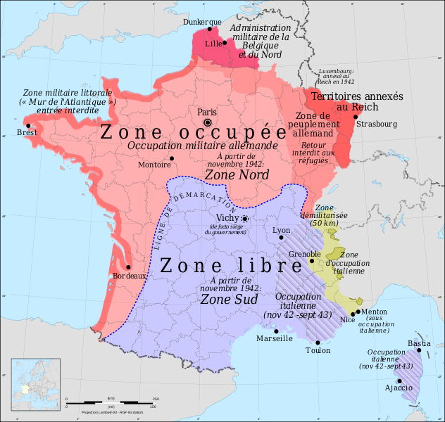 Carte de france sous l'occupation