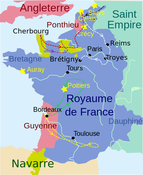 carte france guerre cent ans 1337 1364