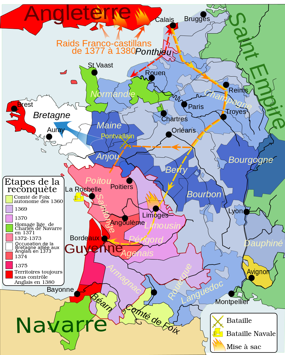 carte france guerre cent ans 1364 1380