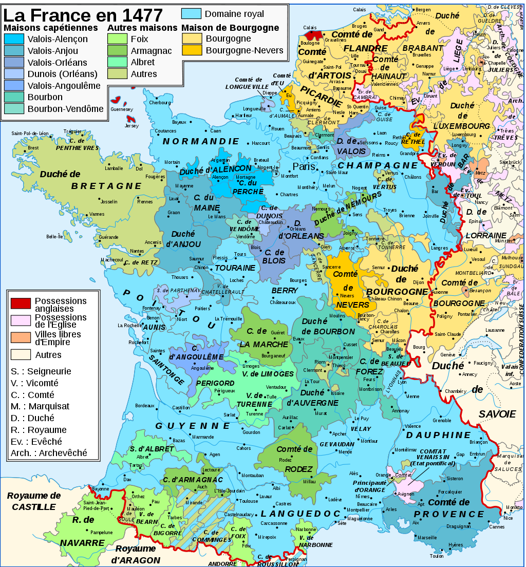 carte de france xve siecle