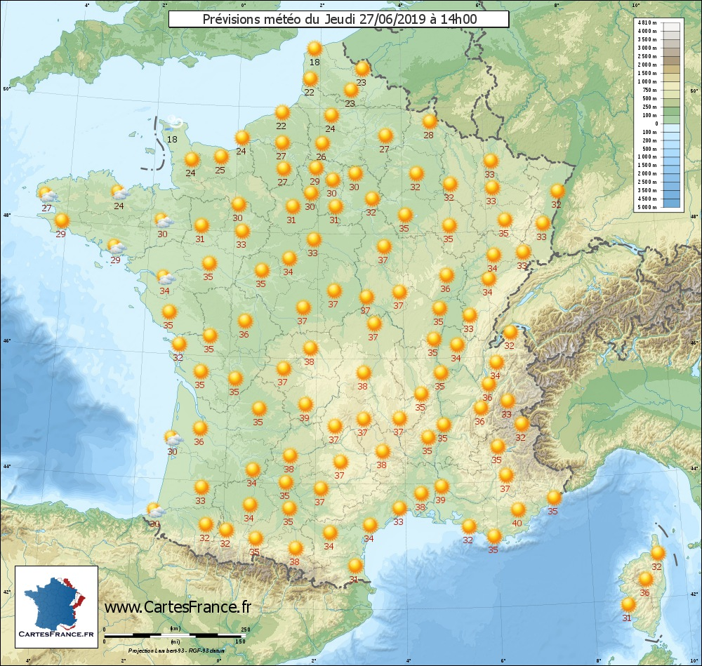 Wheather map for Jeudi 27-06-2019 14H00