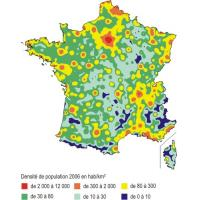 Carte de la densite de population 2006