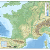Fond de carte de France des regions avec relief