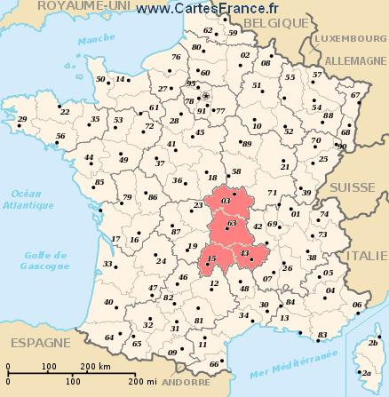 carte auvergne - Photo